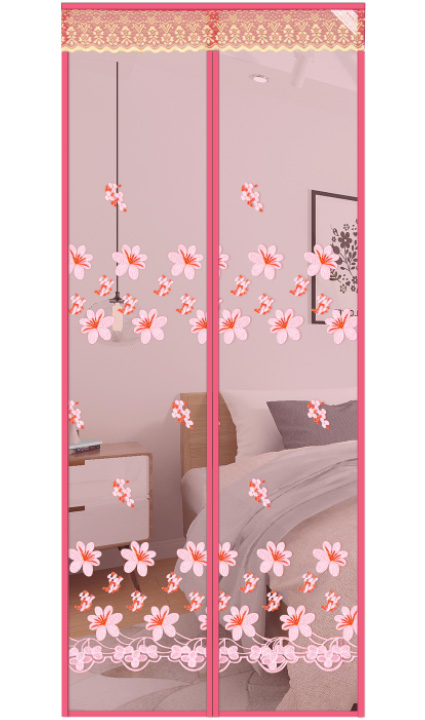 Peach blossom magnetic soft yarn curtain-pink