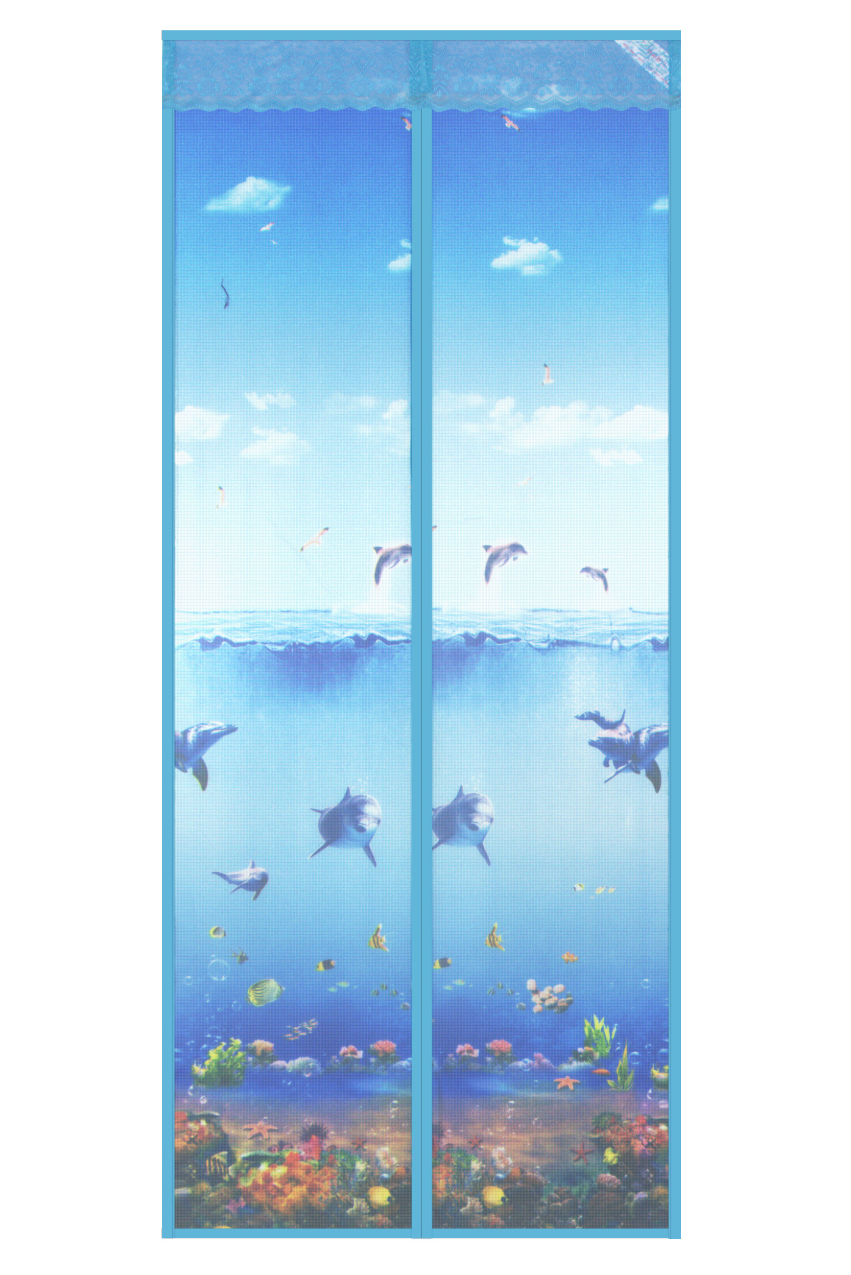 New magnetic soft curtain in 2020-Underwater world magnetic soft curtain-blue