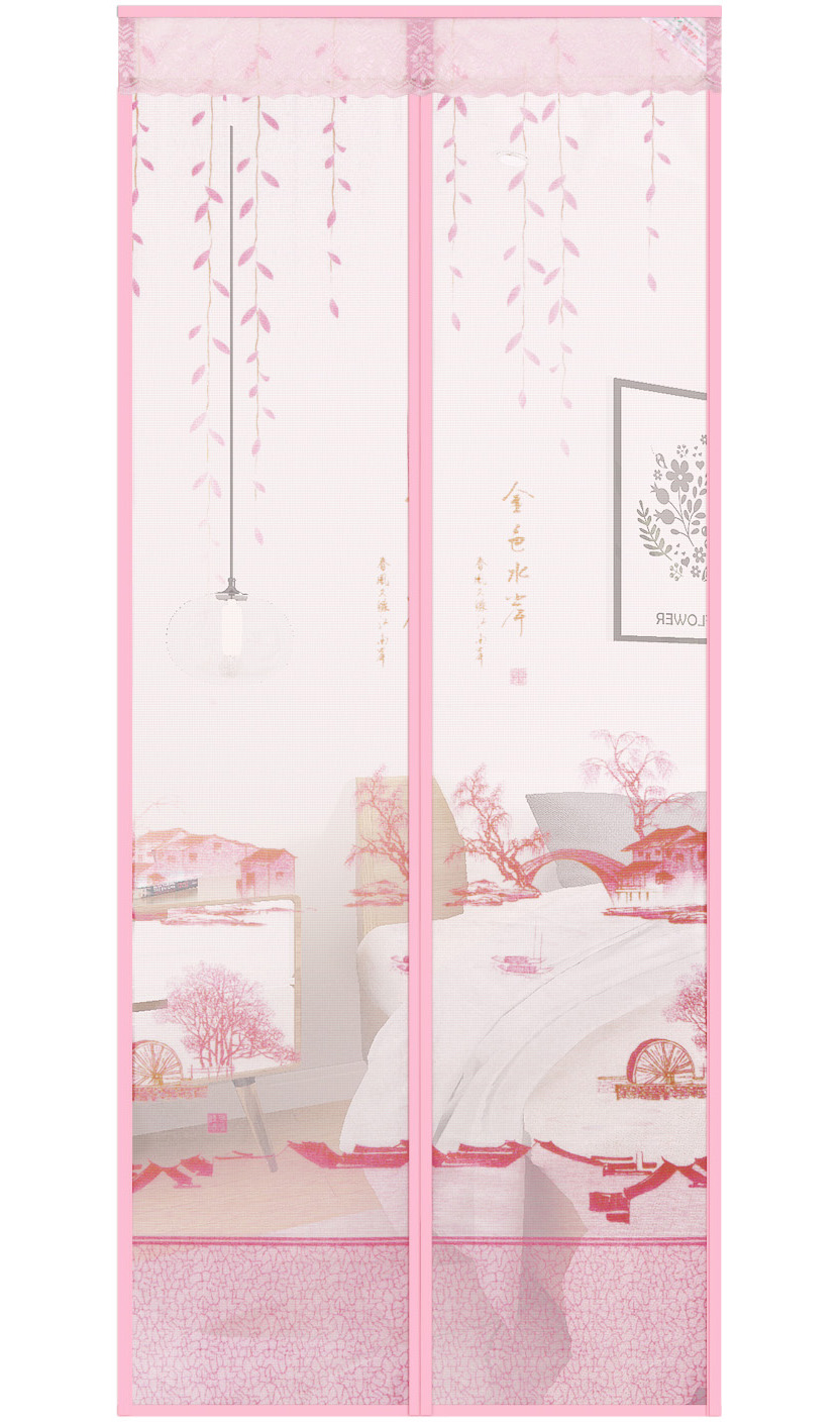 Printed Cloth ​Gold Waterfront Magnetic Soft Yarn Door-Pink