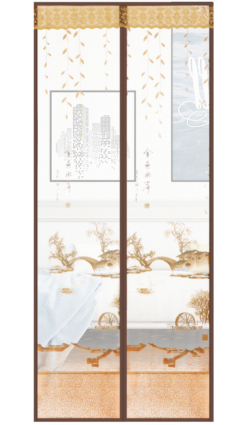 Printed cloth Gold Waterfront Magnetic Soft Yarn Door-Brown
