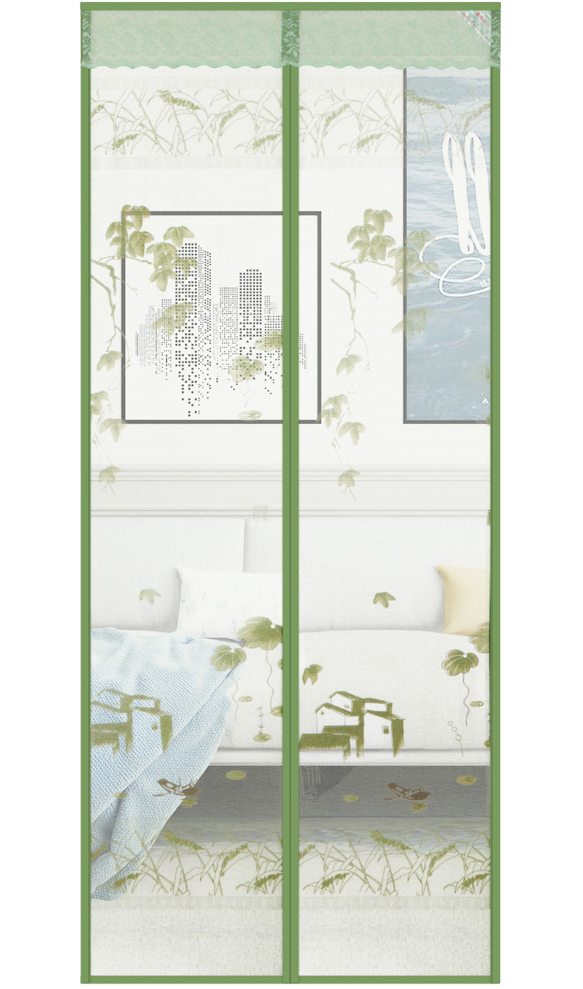 Printed cloth Gold Waterfront Magnetic Soft Yarn Door-Green
