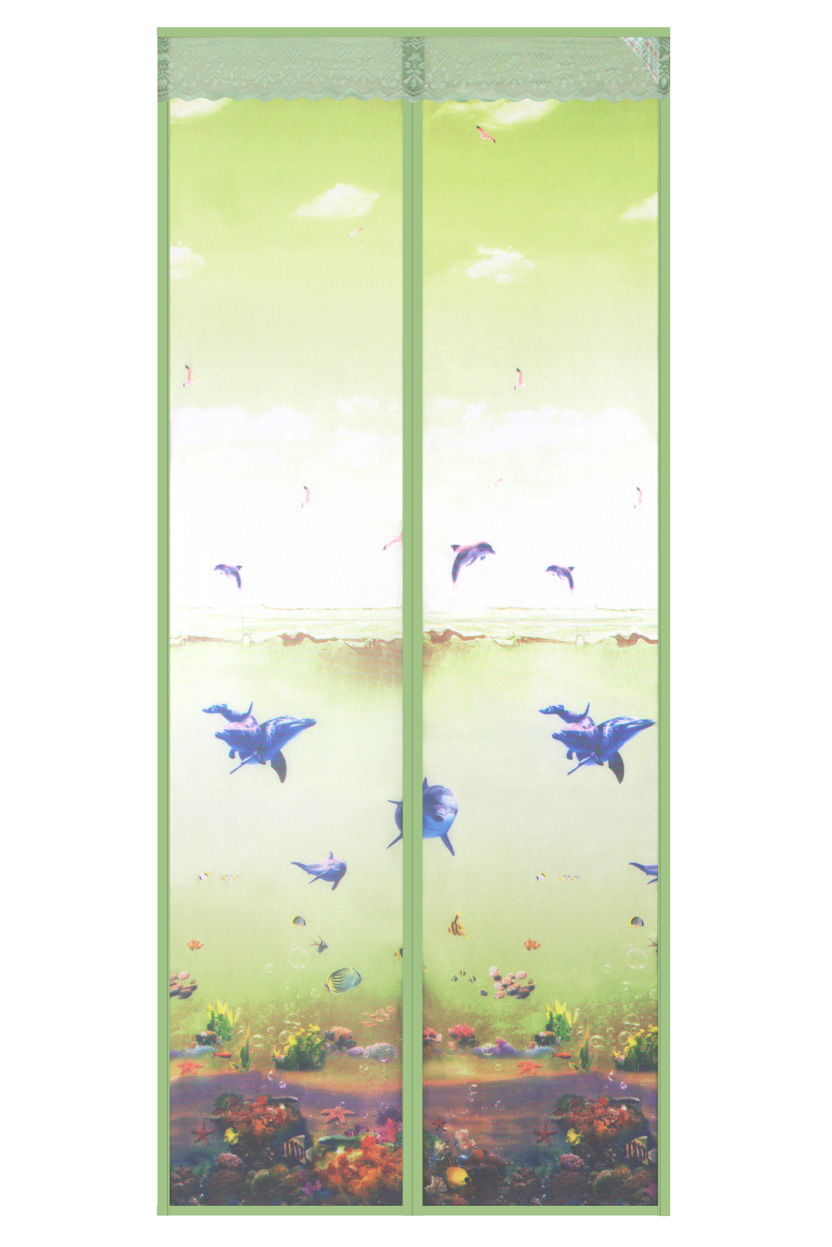 Printed cloth 2020 new magnetic soft yarn door curtain-underwater world magnetic soft yarn door curt