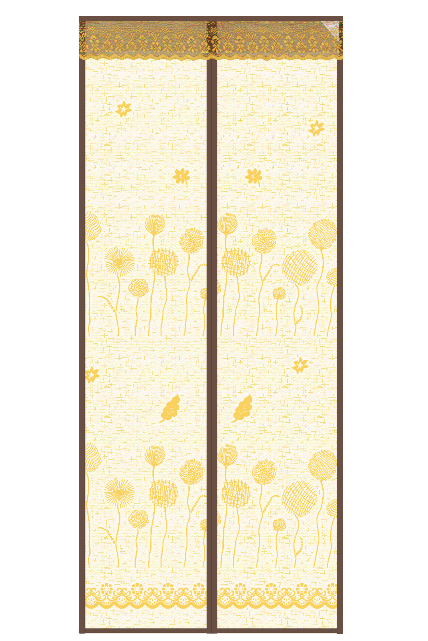 Striped cloth New 2020 Door Curtain-Dandelion magnetic soft yarn Door curtain-brown
