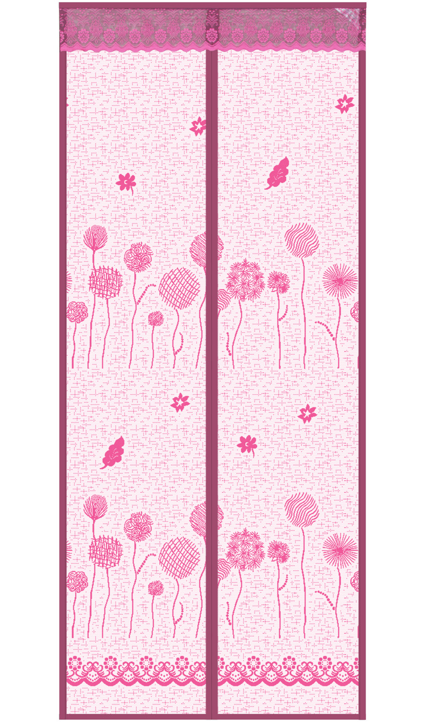 Striped cloth Dandelion Magnetic Soft Yarn Door Curtain-Pink