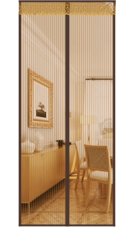 Screen series 2020 new curtains-striped magnetic soft yarn door curtains-brown